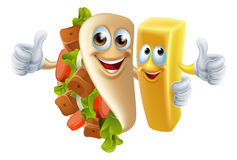 Kebab and Chip Mascots. Cartoon kebab and chip fries mascots arm in arm vector illustration