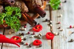 Kebab on cinnamon sticks Stock Photos