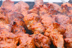 Kebab closeup. Close up of an appetizing shish kebab Royalty Free Stock Photography