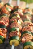 Kebab con i vegs e la miscela delle spezie sul bbq Fotografie Stock Libere da Diritti