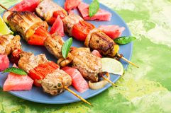Kebab con il contorno dell'anguria Immagini Stock Libere da Diritti