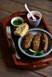 Kebab con la salsa ed il coriandolo della bacca in un vassoio d'annata Immagini Stock
