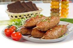 Kebab con le cipolle e le erbe Fotografia Stock