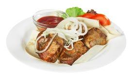 Kebab con sause Immagine Stock