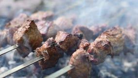 Kebab cotto dello shish Movimento lento le mani di un uomo che girano shashlik sugli spiedi Carne del manzo arrostito cucinata al archivi video