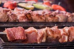 Kebab crudo grigliato sugli spiedi del fuoco di carne e delle verdure immagine stock libera da diritti