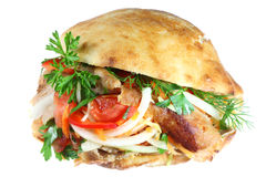 Kebab de Doner no branco. Fotos de Stock Royalty Free