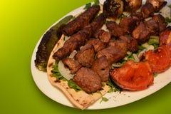 Kebab, de Fotografie van de Rundvleesbarbecue, de Foto van het Restaurantmenu stock fotografie