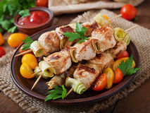 Kebab de shish de poulet Photos stock