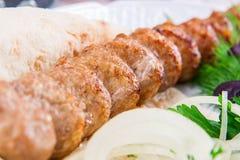 Kebab del cordero con la cebolla y las hierbas Imagen de archivo