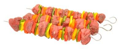 Kebab del peperone dolce e del manzo crudo Fotografia Stock