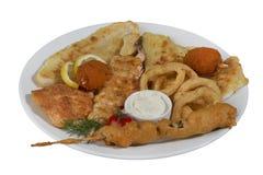 Kebab del pesce, pesce infilzato con le verdure Immagine Stock Libera da Diritti