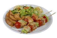 Kebab del pesce, pesce infilzato con le verdure Fotografie Stock Libere da Diritti