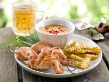 Kebab del pollo Immagini Stock