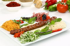 Kebab dell'Adana del turco Fotografia Stock