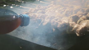 Kebab dell'arrosto sull'addetto alla brasatura stock footage