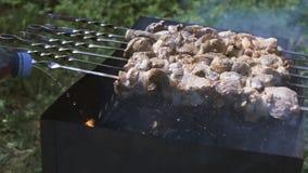 Kebab dell'arrosto sull'addetto alla brasatura archivi video