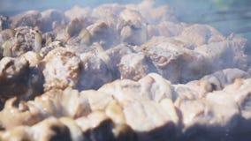 Kebab della griglia sull'addetto alla brasatura archivi video
