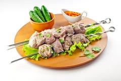 Kebab dello shish del collo del porco Fotografie Stock