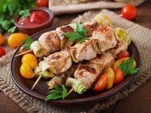 Kebab dello shish del pollo Fotografie Stock