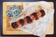 Kebab di carne tritata Fotografie Stock Libere da Diritti