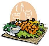 Kebab di color salmone cotto illustrazione vettoriale