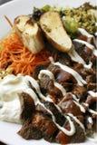 Kebab di Iskender un piatto turco popolare Fotografie Stock Libere da Diritti