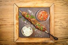 Kebab di Lula con la salsa del pomodoro fotografie stock libere da diritti