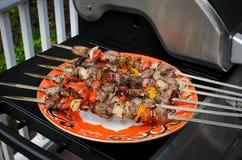 Kebab di Shish sugli spiedi Fotografie Stock Libere da Diritti