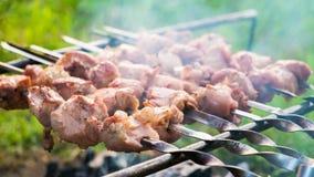 Kebab die op een brand roosteren Stock Foto's