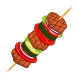 Kebab Doner - зажаренное мясо, лук, томат, огурец, болгарский перец, салат Стоковое Изображение