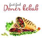 Kebab Doner Здоровый продукт питания фаст-фуда и улицы - иллюстрация штока