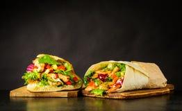 Kebab e panino di Shawarma Immagini Stock Libere da Diritti