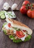 Kebab e Pita com ingredientes Imagens de Stock