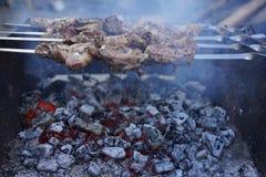 Kebab en los carbones foto de archivo