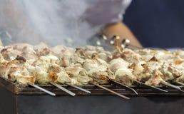 Kebab en los pinchos en la parrilla Imágenes de archivo libres de regalías