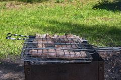 Kebab en worsten van vers vlees dat op de grill wordt geroosterd Royalty-vrije Stock Fotografie