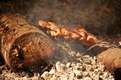 Kebab on fire Royalty Free Stock Photography