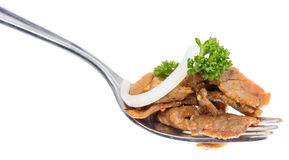 Kebab on a fork (white background) Stock Photography