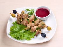 Kebab with fresh vegetables Stock Photo