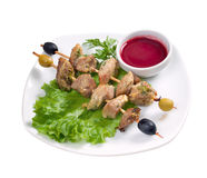 Kebab with fresh vegetables Royalty Free Stock Images