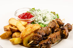 Kebab with fries stock photo