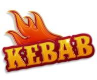 Kebab. Glossy word kebab  on white background Royalty Free Stock Image