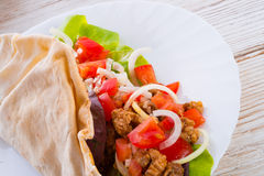 Kebab - grilled meat, bread Stock Photography