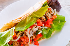 Kebab - meat, bread and vegetables Royalty Free Stock Photography