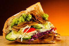 Kebab. Grilled meat and vegetables Royalty Free Stock Photos