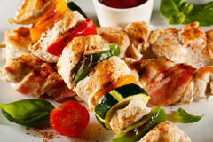 Kebab. Grilled poultry meat and vegetables stock image