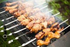 Kebab het roosteren op Stock Foto