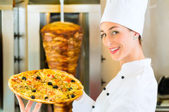 Kebab - hot and fresh Turkish pizza Royalty Free Stock Photos