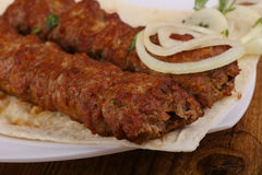 Kebab. Hot Juicy Grilled Kebab with onion and parsley stock photography